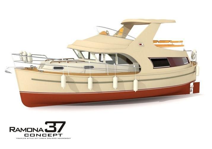 Ramona 37 - zwycięzca w finale Houseboatów. Rys. Sławomir Kot